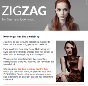 ZIGZAG Hair STudios newsletter for August