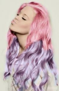 dip dyed pink and purple hair, ZIGZAG Hair studios
